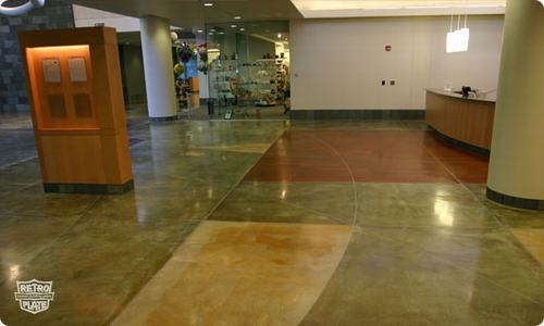 Hotel lobby concrete floor stained with Retroplate system